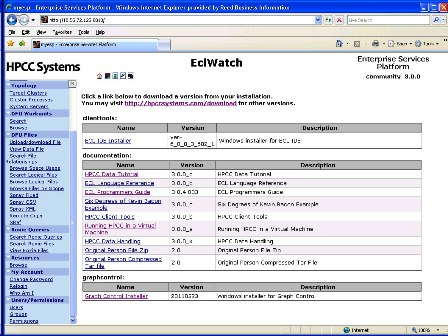 ECL Watch the Web front end for HPCC